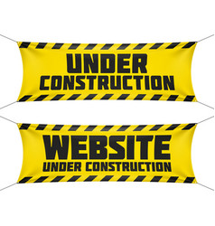 website under construction banners vector image vector image
