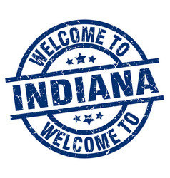 Welcome to indiana blue stamp vector