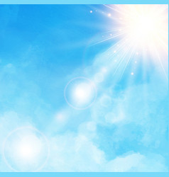 white cloud detail in blue sky with sunshine vector image