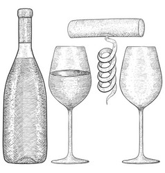 wine bottle and glasses with corkscrew hand drawn vector image vector image