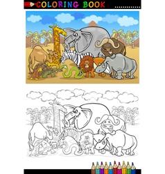 safari wild animals cartoon for coloring book vector image