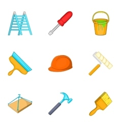 Construction icons set cartoon style vector image