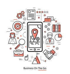 Business on the go - red lineart vector