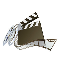 Film clapperboard and movie film reel vector
