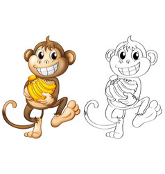 animal outline for monkey with bananas vector image
