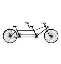 Retro tandem bicycle in black design vector