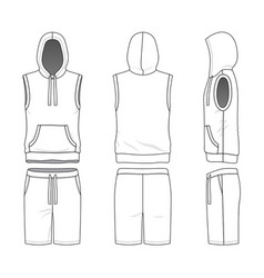 Sleeveless hoody and shorts vector