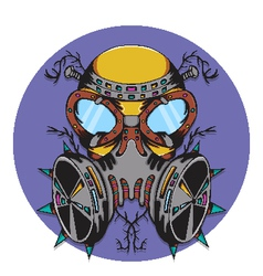 Crazy gas mask bio hazard monster vector
