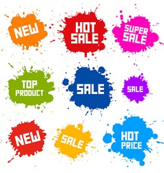 Business colorful icons - sale blots - splashes vector