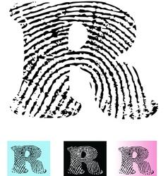 Fingerprint Alphabet Letter R vector image