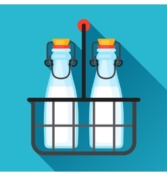 Milk bottles and wire carrier in flat vector