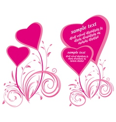 stylized hearts and floral elements vector image