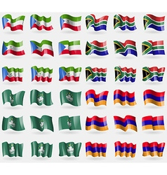 Equatorial guinea south africa macau armenia set vector