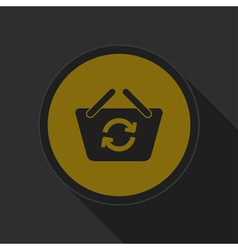 Dark gray and yellow icon shopping basket refresh vector