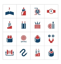Set color icons of cables and wires vector