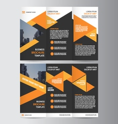 Orange black trifold Leaflet Brochure leaflet vector image