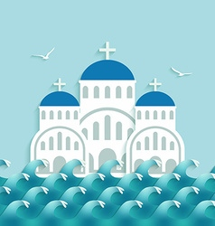 White greek church near blue sea vector