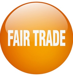 Fair trade orange round gel isolated push button vector