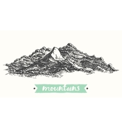 Sketch mountains engraving drawn vector