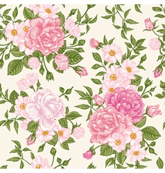 Romantic seamless pattern with pink roses vector