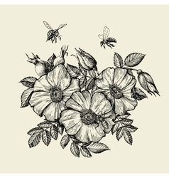 Bees flying to the flower hand drawn beekeeping vector