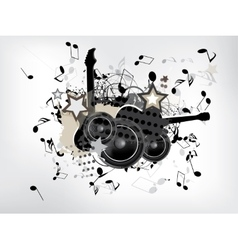 abstract grunge music background with guitar vector image