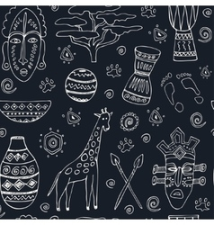 Africa sketch seamless pattern vector image