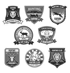 african safari animal hunting club badge set vector image