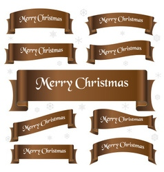 Brown shiny color merry christmas slogan curved vector