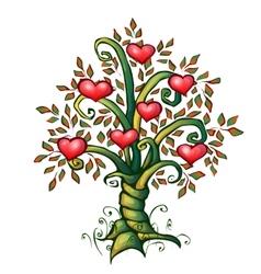 cartoon love tree with vector image vector image