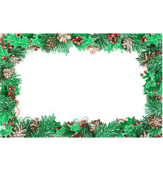 christmas horizontal frame of pine branches with vector image