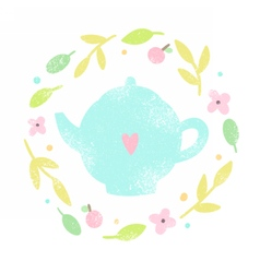 Cute teapot in a floral laurel vector