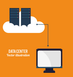 Data center cloud computing technology vector