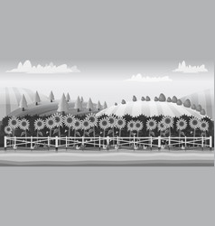 Farm landscape black and white for vector