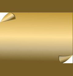Golden paper with scrolled corners blank vector