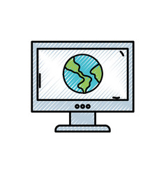 grated global earth planet inside computer vector image