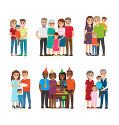 group portraits of happy families set vector image vector image