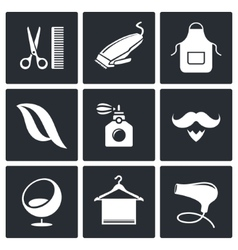 Hair salon icon collection vector