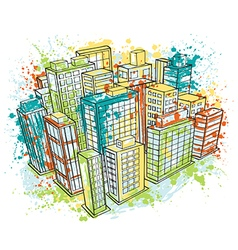 Isometric city landscape with watercolor splashes vector