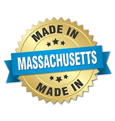 Made in massachusetts gold badge with blue ribbon vector