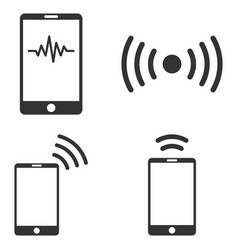Mobile signal flat icon set vector