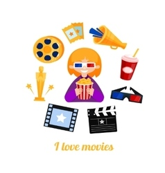 Moviegoer girl cinema icons set vector