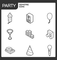 party outline isometric icons set vector image