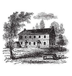 Quaker meeting house vintage vector