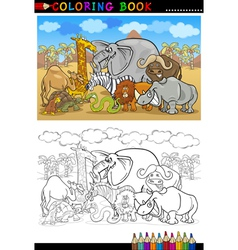 safari wild animals cartoon for coloring book vector image