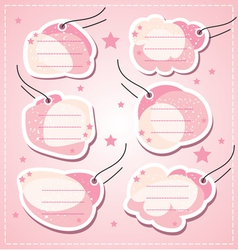 Set baby girl blank tags vector