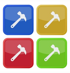 Set of four square icons with claw hammer vector
