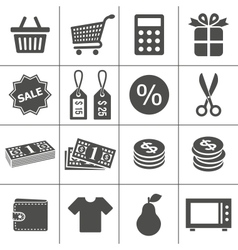 Shopping icons set - Simplus series vector image vector image