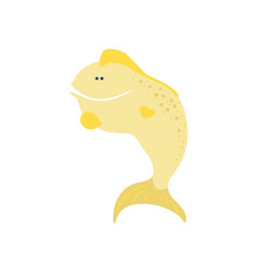 Smiling funny fish cartoon vector