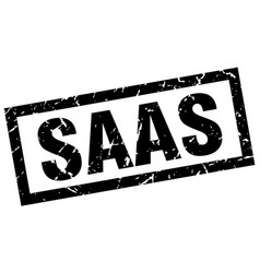square grunge black saas stamp vector image